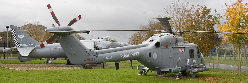 RNAS Yeovilton Gate Guard Lynx and Sea Harrier